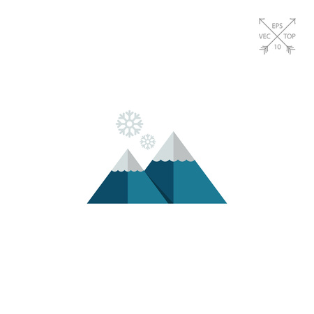 Multicolored vector icon of mountains and snowflakes