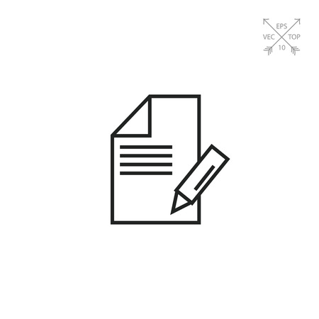 Icon of sheet of paper with pencil taking notes Illustration