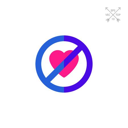 forbidden love: No Heart Sign Icon