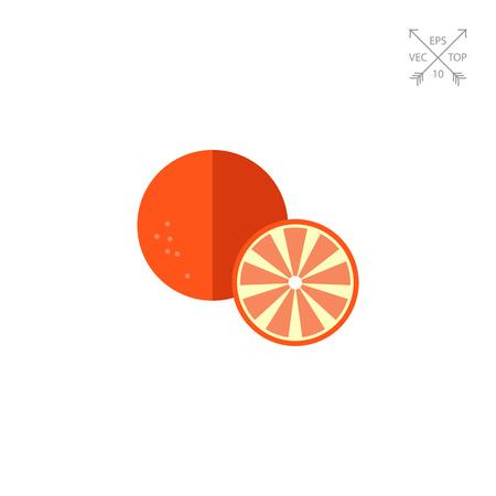 Orange and cut orange half Illustration