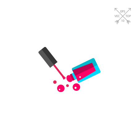 Icon of pink nail polish. Beauty, glamour, cosmetics. Manicure concept. Can be used for topics like beauty salon, color, shopping Illustration