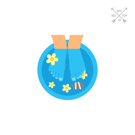 massage symbol: Feet in tub with water and flowers. Pedicure, footcare, spa treatment. Spa concept. Can be used for topics like spa salon, beauty treatment, recreation