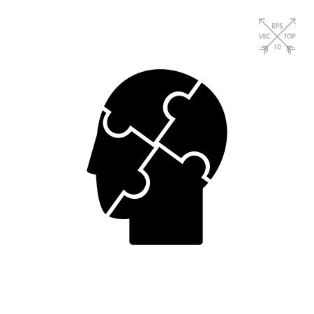 Menselijk hoofd met verbaasd elementen. Geest, genezen, care. Psychologie concept. Kan gebruikt worden voor onderwerpen zoals geneeskunde, gezondheidszorg, gezondheid, psychologie. Stock Illustratie