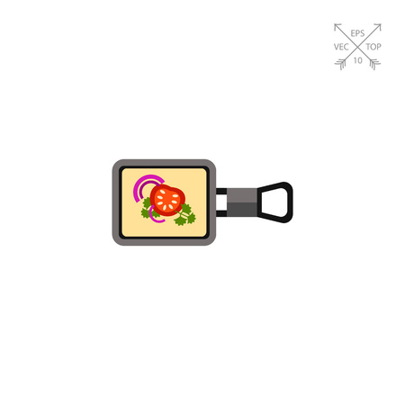 french culture: Raclette on square pan icon Illustration