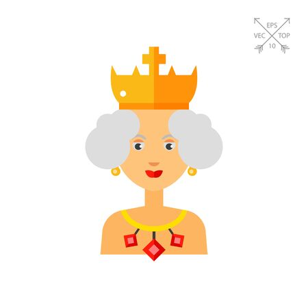 earrings: Queen Wearing Crown and Jewels Icon Illustration
