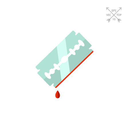 harm: Multicolored vector icon of metal razor blade with blood drop on edge Illustration