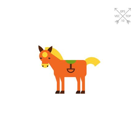 stirrup: Red horse icon Illustration