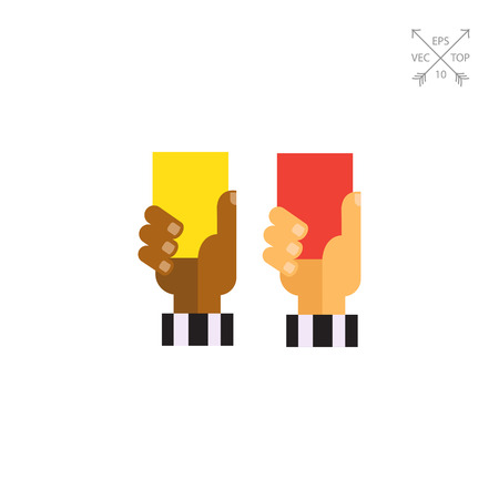 Referee hands with red and yellow cards Illustration