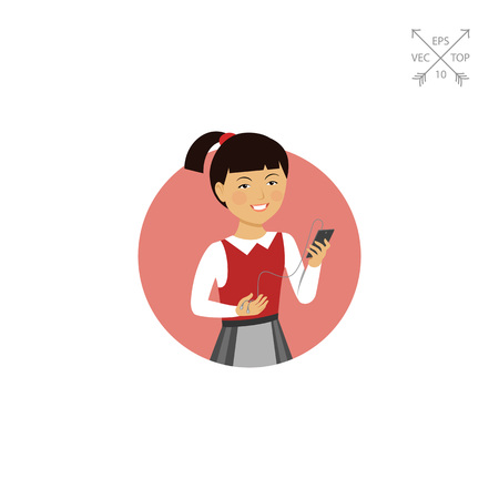 waistcoat: Schoolgirl holding smartphone