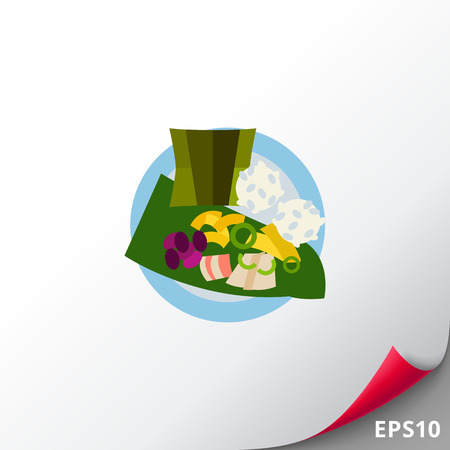 cooked rice: Top view of laulau on plate icon Illustration