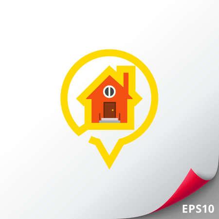 waypoint: Waypoint map symbol house icon Illustration