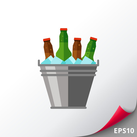 Beer bucket with ice icon