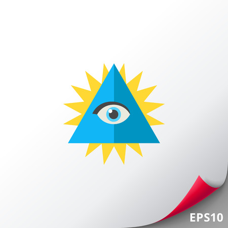 Chakra with eye in shining triangle icon Illustration