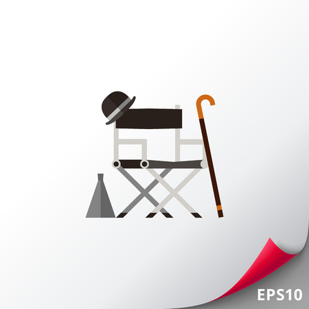 Director chair with stuff icon