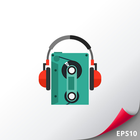 Earphones with cassette player icon