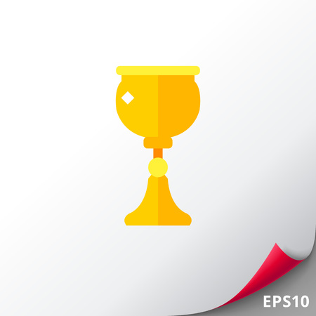 Gold cup for wine icon Illustration