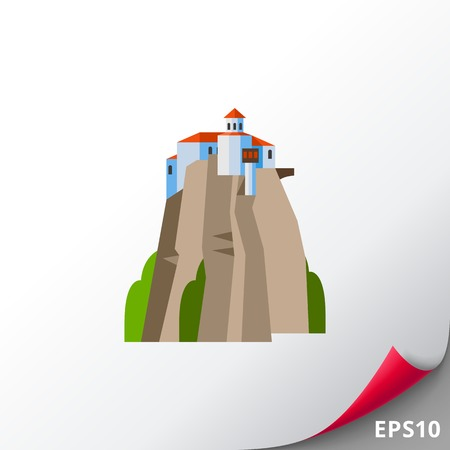 Meteora Monasteries on hill icon