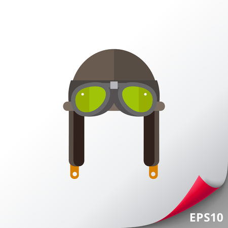 Icon of retro aviator helmet with glasses on white background. Goggles, flying helmet, aviation, vintage object. Aviation concept. Can be useful for topics like aviation, safety or headwear Ilustração
