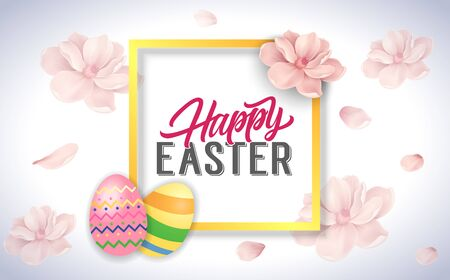 bloomy: Happy Easter calligraphy in frame Illustration