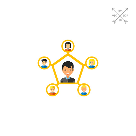 interpersonal: Multicolored vector icon of young man connected to five other people representing personal connection concept Illustration