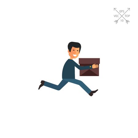 Running delivery man icon Illustration
