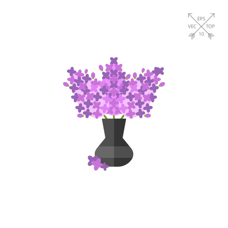 topics: Vector icon of lilac bouquet in vase. Scent, bunch of flowers, bloom. Spring concept. Can be used for topics like flowers, season, nature