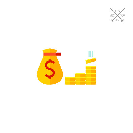 Sack with dollar sign and gold bars. Fund, budget, bank. Money concept. Illustration