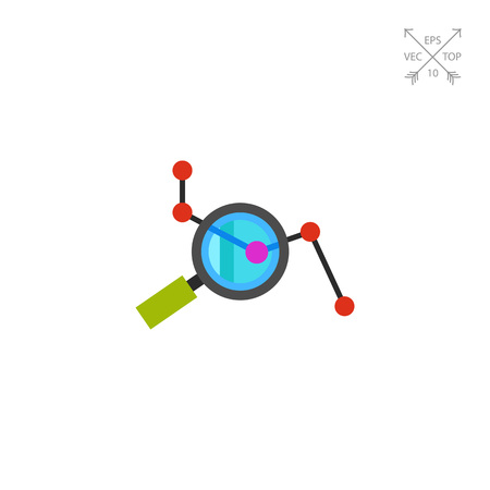 SEO Concept with Loupe and Graph Icon Illustration