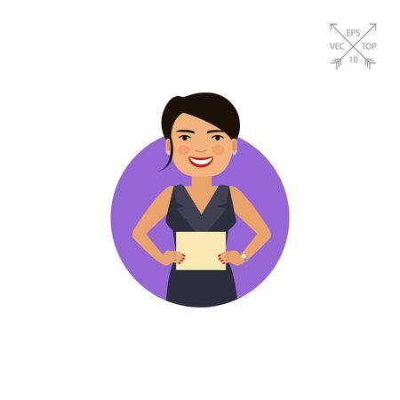 earrings: Smiling woman holding paper sheet Illustration