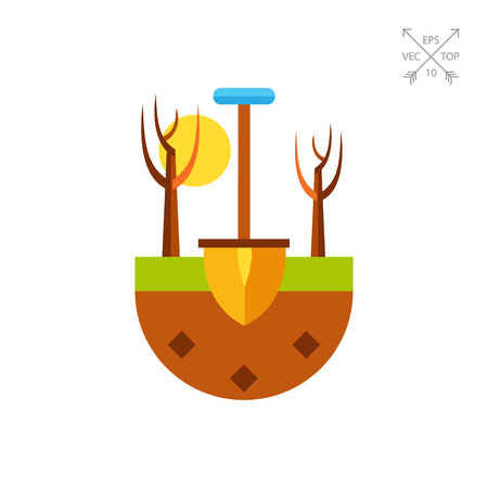 Spade in ground as gardening concept icon