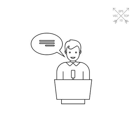 explaining: Speaker Silhouette Line Icon