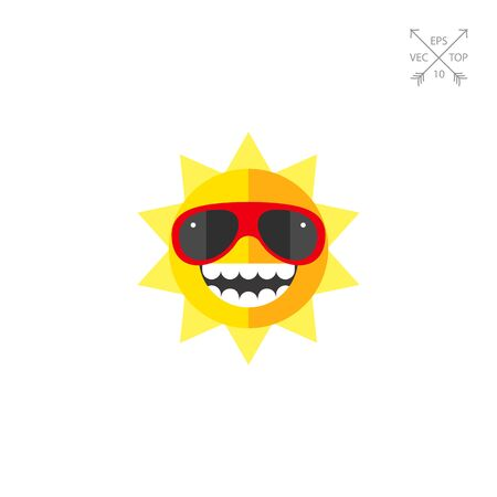 Summer sun in sunglasses icon