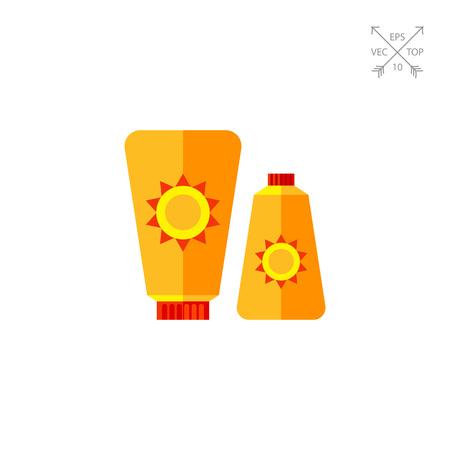 sun cream: Sunblock Cream Icon Illustration