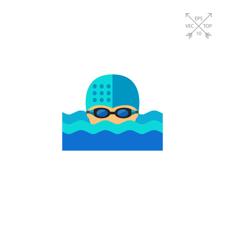 swim cap: Swimmer in Water Icon Illustration