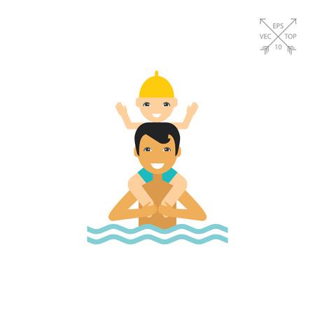 Schwimmen Vater und Kind-Symbol Vektorgrafik