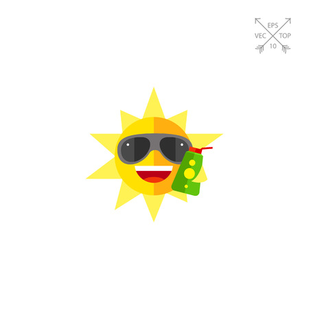 Sun holding opened sunscreen lotion icon