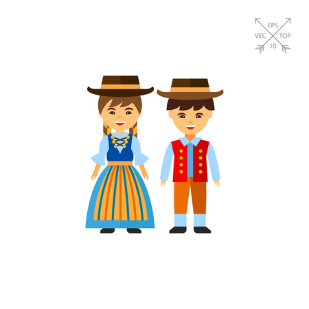 waistcoat: Swiss couple in national dress vector icon
