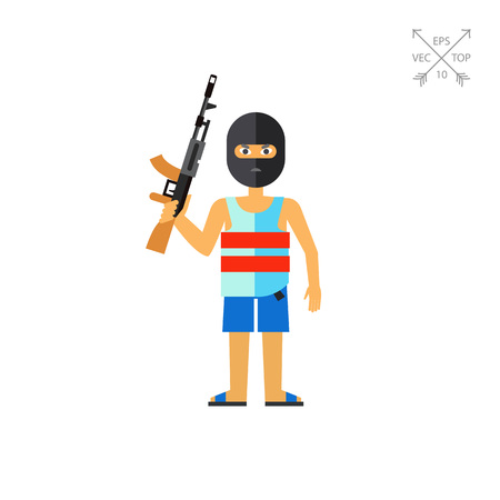 Terrorist in Mask with Gun Icon Illustration