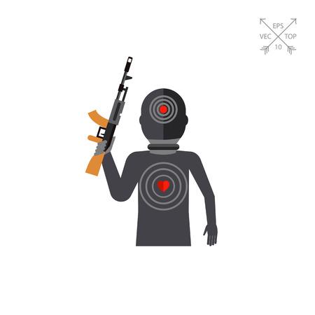 struggle: Terrorist Silhouette with Gun Icon