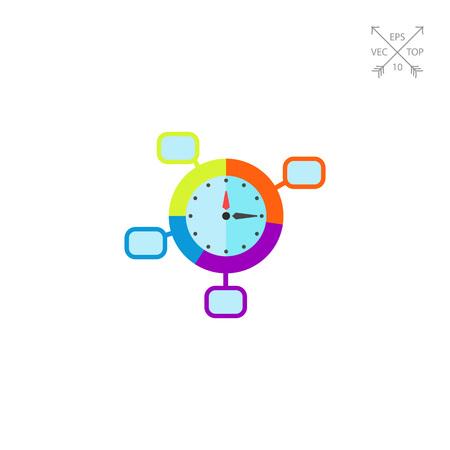 puntualidad: Concepto de Control de Tiempo y Icono de Reloj Vectores