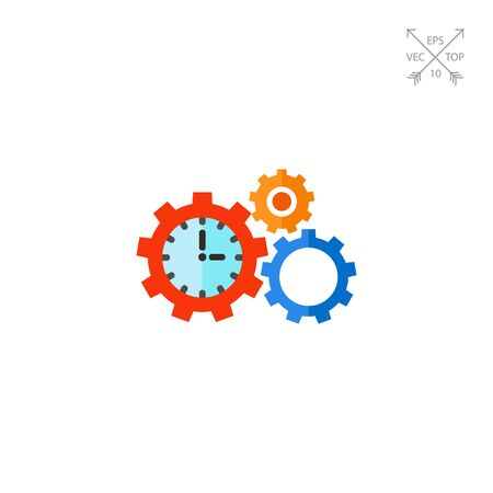 Time Management Concept Icon with Gears Illustration