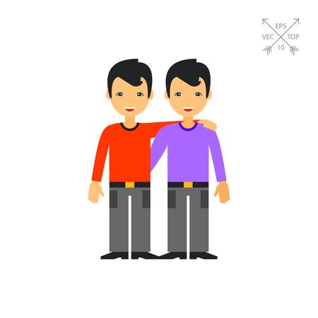 companion: Two Hugging Male Friends Icon Illustration