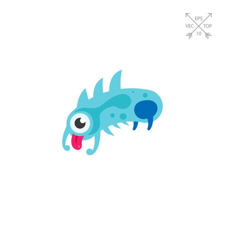 licking: Virus Cartoon Character Icon 5 Illustration