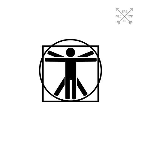 leonardo da vinci: Vitruvian Man Icon Illustration
