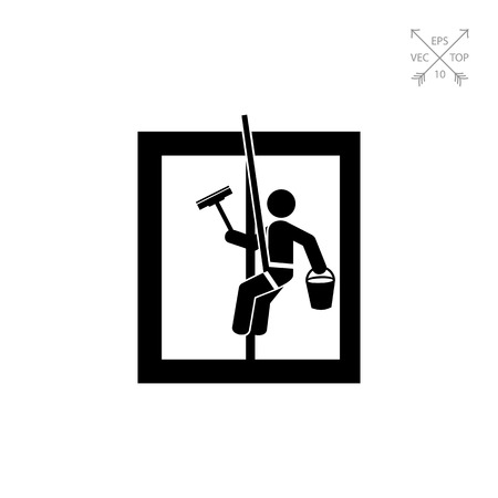 cleaning service: Washing window as Cleaning Concept Icon Illustration