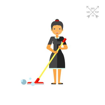 Nettoyage des sols Femme avec Mop Icône