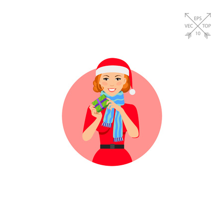 Woman in Santa costume holding gift box
