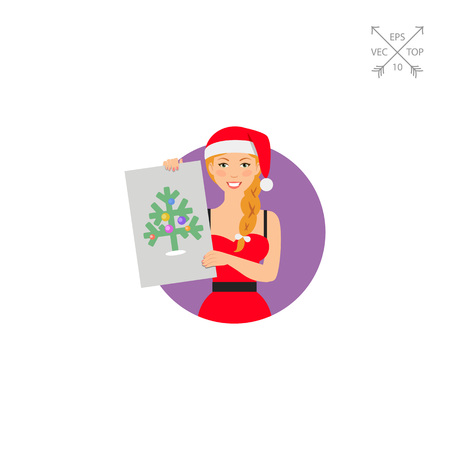 Woman in Santa costume showing picture Illustration