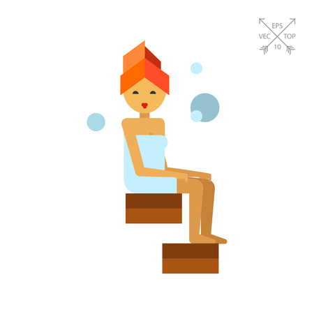 Woman in steamroom Illustration