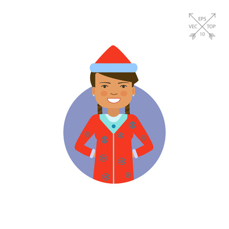 earrings: Woman wearing red Santa costume